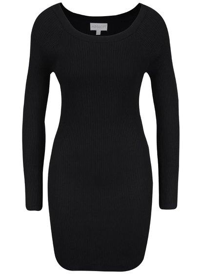 Čierne rebrované šaty s dlhým rukávom Apricot