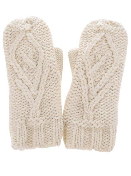 Krémové pletené rukavice Pieces Polka