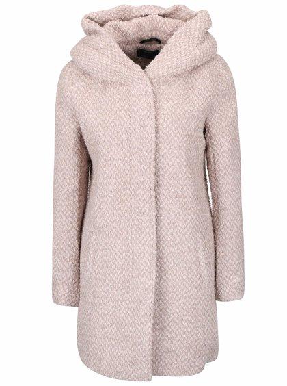 Starorůžový žíhaný kabát s kapucí ONLY New Indie