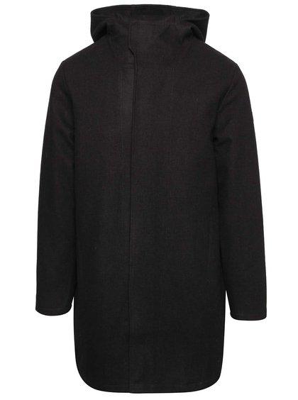 Čierna pánska dlhá bunda s kapucňou RVLT