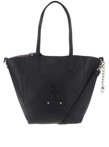 Čierna väčšia kabelka s odnímateľným popruhom U.S. Polo Assn
