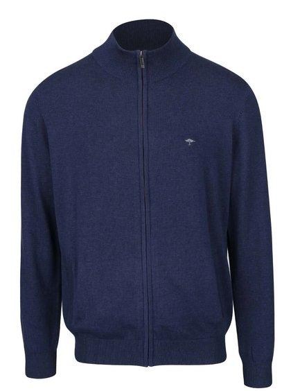 Pulover albastru Fynch-Hatton din bumbac cu guler înalt