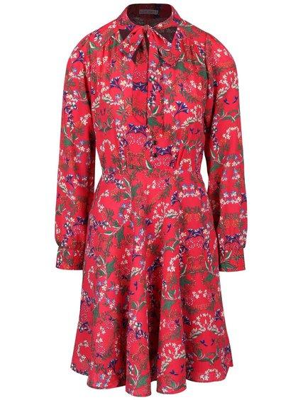 Tmavoružové kvetinové šaty s viazankou Trollied Dolly What A Scarf