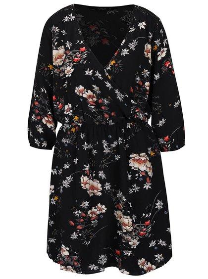 Čierne kvetované šaty s prekladaným dekoltom ONLY Mallory