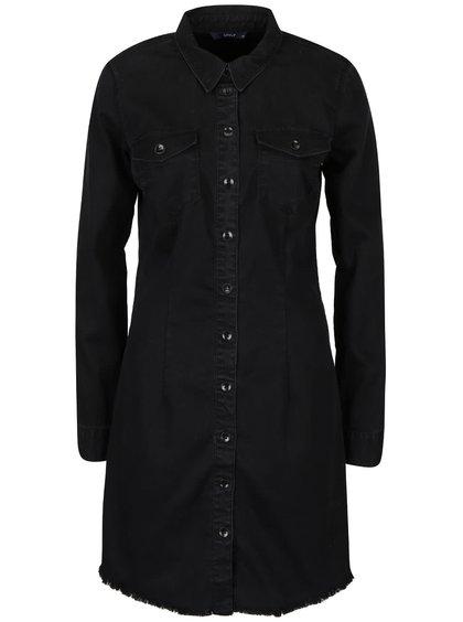 Černé džínové košilové šaty s dlouhým rukávem ONLY Lonni
