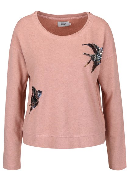 Světle růžová volnější mikina s motivem ptáčků a flitry ONLY Bine