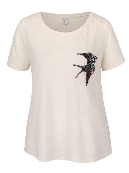 Krémové žíhané tričko s motivem květin a flitry ONLY Maddie
