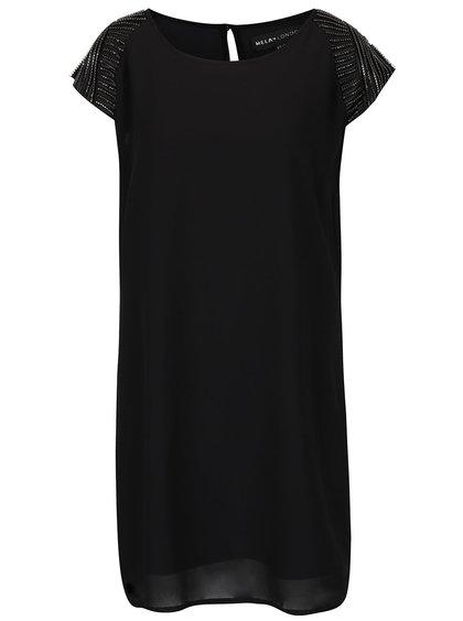 Černé šaty s aplikací na ramenou Mela London