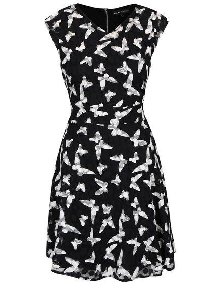 Černé šaty se vzorem motýlů Mela London
