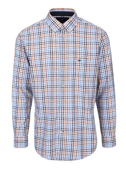 Bílo-hnědo-modrá kostkovaná košile Fynch-Hatton