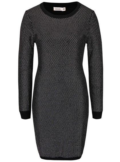 Čierne úpletové šaty s dlhým rukávom Lavand