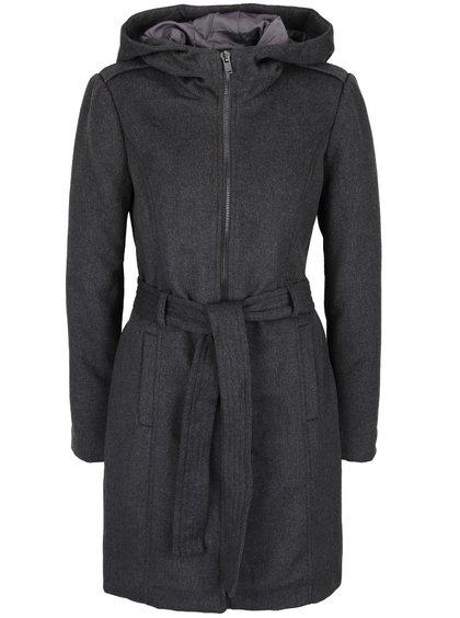 Tmavě šedý kabát s kapucí VERO MODA Fedora