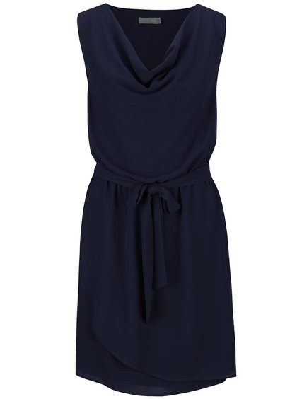 Tmavomodré šaty s mašľou v páse Lavand