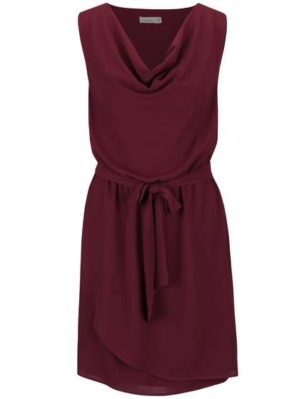 Vínové šaty s mašlí v pase Lavand