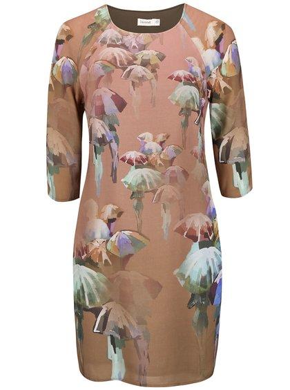 Ružovohnedé šaty s potlačou Lavand