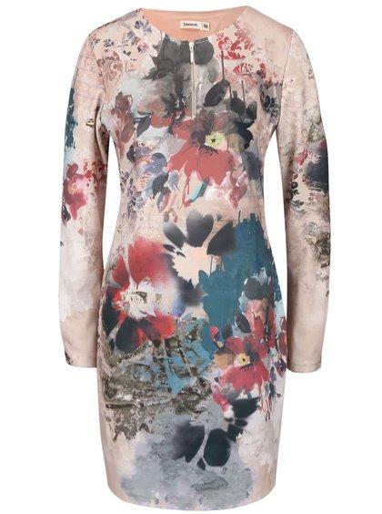 Béžové květované šaty Lavand