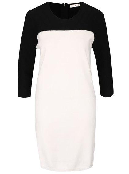 Černo-krémové svetrové šaty s dlouhým rukávem Lavand