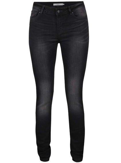 Tmavě šedé slim fit džíny s vyšisovaným efektem Vero Moda Seven