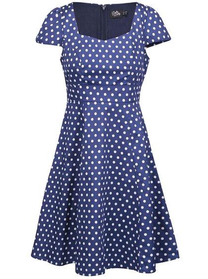 Modré puntíkované šaty s krátkými rukávy Dolly & Dotty Claudia