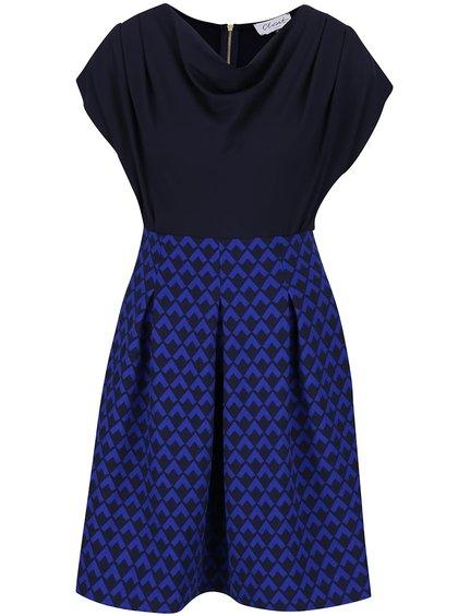 Tmavě modré šaty se vzorovanou sukní Closet