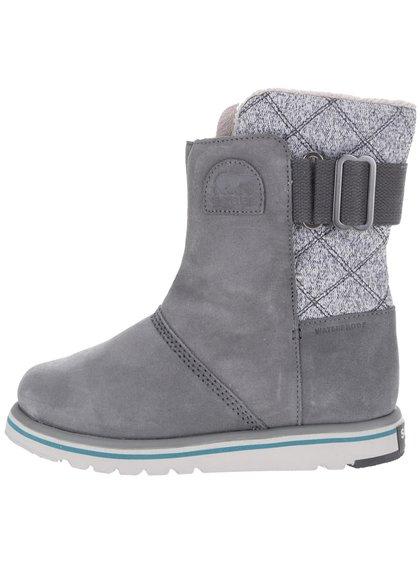 Šedé kožené voděodolné zimní boty SOREL Rylee