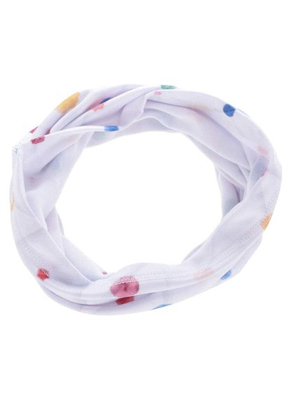 Eșarfă circulară Horsefeathers Warmer albă cu buline