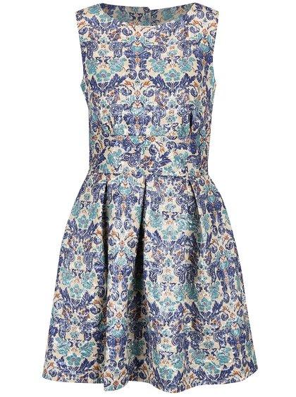 Krémovo-modré lesklé vzorované šaty Closet