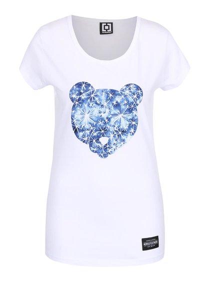Biele dámske tričko s potlačou medveďa Horsefeathers Polar Bear