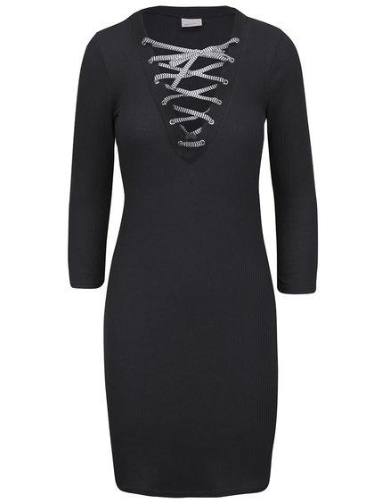 Rochie neagră Vero Moda Seduno cu decolteu în V