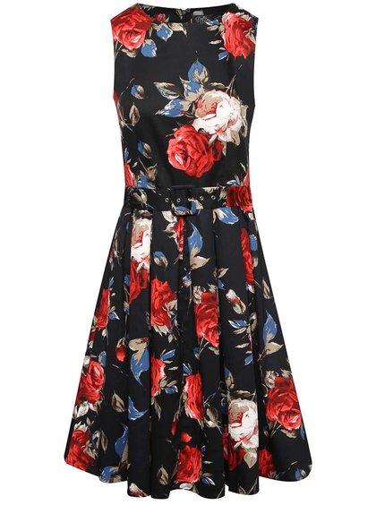 Černé květované šaty s páskem Dolly & Dotty Annie