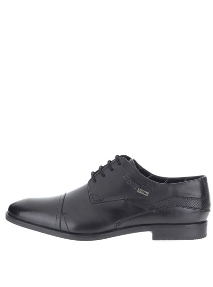 Pantofi bărbătești negri din piele bugatti Savino Tex