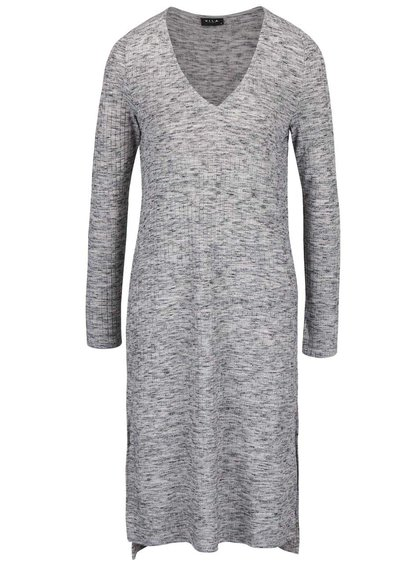 Sivé žíhané rebrované šaty s dlhým rukávom VILA Locka