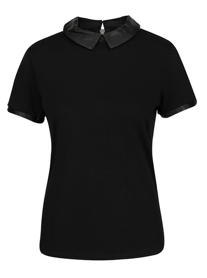 Černé tričko s koženkovým límečkem a lemy VILA Tinny