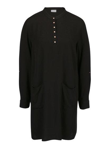 Rochie neagră VILA Button cu buzunare