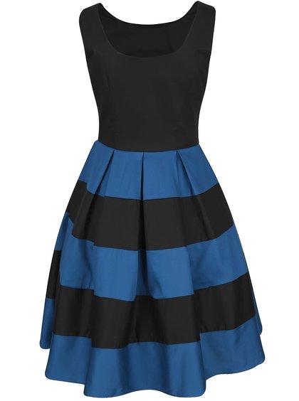 Modro-černé šaty s pruhovanou sukní Dolly & Dotty Anna