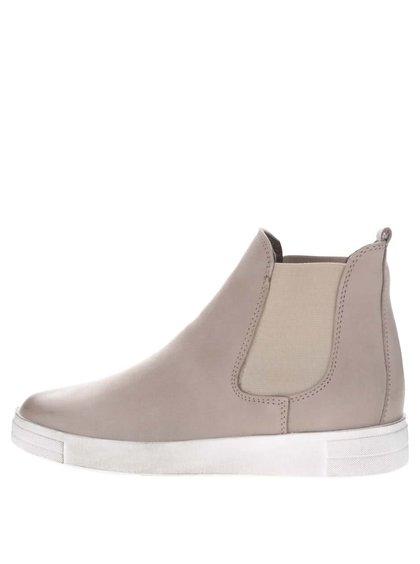 Béžové semišové chelsea boty s krémovou podrážkou Tamaris