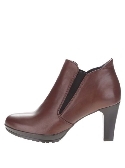 Hnedé kožené členkové chelsea topánky na podpätku Tamaris