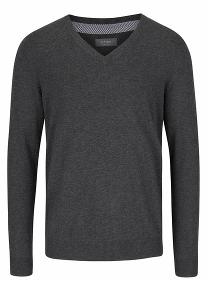 Tmavě šedý svetr s véčkovým výstřihem Bertoni Alf