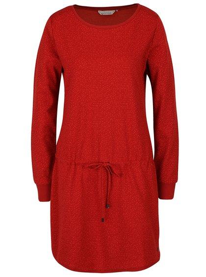 Červené vzorované šaty s dlouhými rukávy Skunkfunk Kata