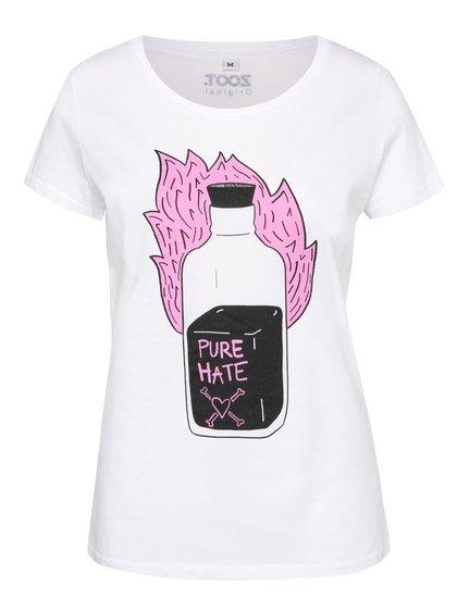 Biele dámske tričko s potlačou čistejnenávisti ZOOT Originál Poison