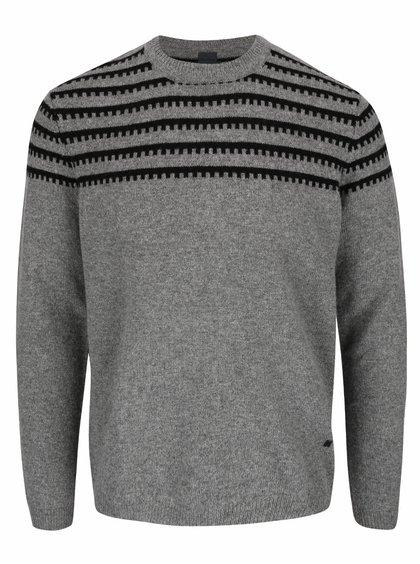 Šedý vlněný svetr s černým vzorem Bertoni Steen