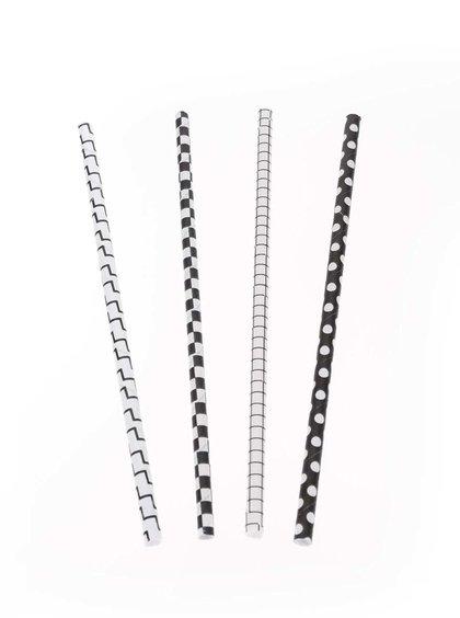 Černo-bílá papírová brčka Kikkerland
