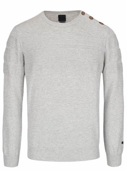 Svetlosivý sveter s gombíkmi na ramene Bertoni Esben