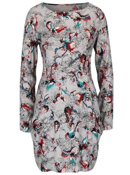 Svetlosivé šaty s farebným vzorom Skunkfunk Madge
