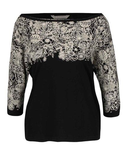 Černé oversize tričko s květinovým potiskem a odhalenými rameny Skunkfunk Lanivet