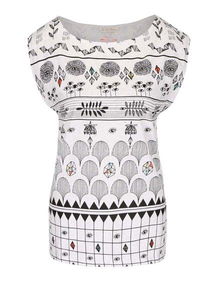 Krémové melírované vzorované tričko Skunkfunk Julia