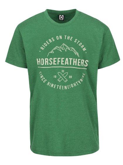 Zelené žíhané pánské triko s potiskem Horsefeathers Riders