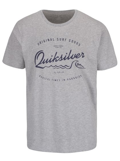 Světle šedé pánské triko s modrým nápisem Quiksilver Classteess Westp