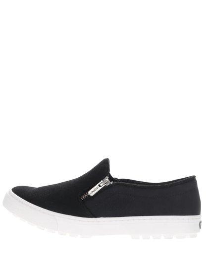 Čierne loafers s ozdobným zipsom Roxy Juno