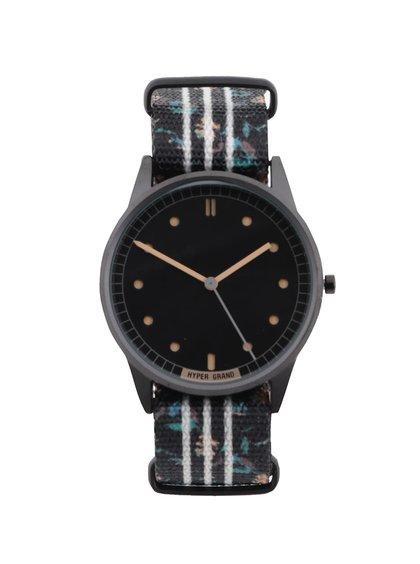 Černé pánské vzorované hodinky HYPERGRAND